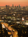California, Los Angeles, Downtown and Hollywood Freeway 101 from Hollywood Bowl Overlook, USA Photographic Print by Walter Bibikow