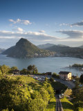 Ticino, Lake Lugano, Lugano, Town View and Monte San Salvador from Monte Bre, Switzerland Photographie par Walter Bibikow