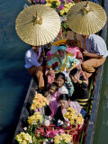 Young Novitiate Travels by Boat to His Induction as Novice Buddhist Monk, Lake Inle, Burma, Myanmar Photographic Print by Nigel Pavitt