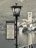 Piedmont, Lake Orta, Orta San Giulio, Isola San Giulio Island, Lake Taxi Sign, Italy Photographic Print by Walter Bibikow