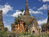 Some of Old Buddhist Shrines and Stupas at Shwe Inn Tain Pagoda and Monastery Complex, Myanmar Photographic Print by Nigel Pavitt