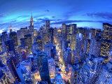 Chrysler Building och silhuett av Midtown Manhattan, New York City, USA Fotografiskt tryck av Jon Arnold