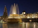 Christmas Tree and Fountains Lit Up in Trafalgar Square for Christmas Photographic Print by Julian Love