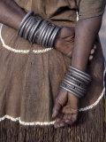 Numerous Decorated Iron Bracelets Worn by a Datoga Woman, Tanzania Fotografie-Druck von Nigel Pavitt