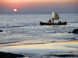 Crew of Fishing Boat Hurries Home to Sittwe as Sun Sets over the Bay of Bengal, Burma, Myanmar Photographic Print by Nigel Pavitt