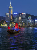 One of Last Remaining Chinese Sailing Junks, Victoria Harbour from Kowloon, Hong Kong, China, Asia Photographic Print by Gavin Hellier