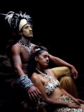 Rapanui Man and Woman, Singa Miguel Angel and Uri Francesca Avaka, in Costume at Te Pahu Caves Photographic Print by John Warburton-lee