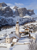 Church in Colfosco, Badia and Sella Massif Range, Dolomites, South Tirol, Italy Photographic Print by Gavin Hellier