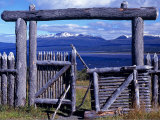 Gates of Fuerte Bulnes, in Southern Patagonia, Look Out over the Straits of Magellan, Chile Photographic Print by John Warburton-lee