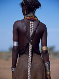 Young Dassanech Girl Wears Hair Partially Braided, Coated in Animal Fat and Ochre, Ethiopia Lámina fotográfica por John Warburton-lee
