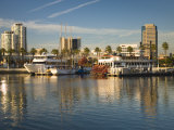 California, Long Beach, Shoreline Village, Marina and City View, USA Photographic Print by Walter Bibikow