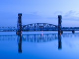 Alabama, Decatur, Old Southern Railway Bridge, Lift Bridge, Tennessee River, Dawn, Blue, USA Photographic Print by John Coletti