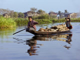 Burma, Lake Inle, Women Taking Wood to Market by Boat, Myanmar Photographic Print by Nigel Pavitt