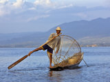 Intha Fisherman with a Traditional Fish Trap, Using Leg-Rowing Technique, Lake Inle, Myanmar Photographic Print by Nigel Pavitt