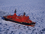 Franz Josef Land, Aerial View of Russian Nuclear-Powered Icebreaker 'Yamal' in Sea-Ice, Russia Photographic Print by Allan White