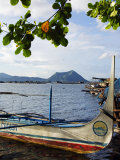 Colourful Banka Fishing Boats, Lake Taal, Taal Volcano in Back, Luzon, Talisay, Philippines Photographic Print by Christian Kober