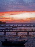 Camamu Bay  Island of Tinhare  Sunset over Jetty and Boats  Village of Morro De Sao Paulo  Brazil