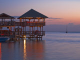 Bay Islands, Roatan, West End, Fosters Bar and Restaurant at Sunset, Honduras Photographic Print by Jane Sweeney