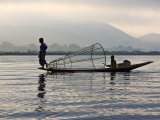 Intha Fisherman with Traditional Fish Trap, Unusual Leg-Rowing Technique, Lake Inle, Myanmar Photographic Print by Nigel Pavitt