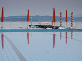 Lombardy, Lake District, Lake Garda, Sirmione, Lakeside Swimming Pool, Italy Photographic Print by Walter Bibikow