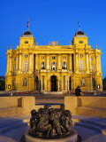 Croatian National Theatre Neobaroque Architecture, Ivan Mestrovic's Sculpture Fountain of Life Photographic Print by Christian Kober