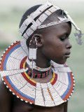 White Beadwork and Circular Scar on Cheek of This Maasai Girl, from the Kisongo Group Lámina fotográfica por Nigel Pavitt