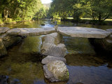 Tarr Steps a Prehistoric Clapper Bridge across the River Barle in Exmoor National Park, England Photographic Print by Mark Hannaford