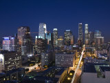 California, Los Angeles, Aerial View of Downtown from West 11th Street, Dusk, USA Photographic Print by Walter Bibikow