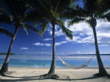 Palms and Hammock, Akitua Motu, Aitutaki, Cook Islands Photographic Print by Walter Bibikow