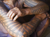 Luzon Island, Liglig Headhunters Village - Old Woman with Traditional Tattoo on Hands, Philippines Photographic Print by Christian Kober