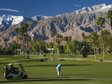 California, Palm Springs, Desert Princess Golf Course and Mountains, Winter, USA Photographic Print by Walter Bibikow
