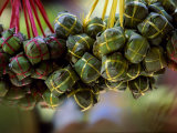 Close Up of Rice Balls Wrapped in Vine Leaves, Vietnam Photographic Print by Paul Harris