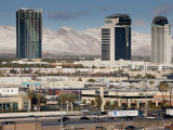 Nevada, Las Vegas, View West of Interstate 15 Showing Snow on Mountains, Morning, USA Photographic Print by Walter Bibikow