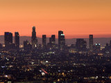 California, Los Angeles, Downtown from Hollywood Bowl Overlook, Dawn, USA Photographic Print by Walter Bibikow