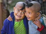 Burma, Rakhine State, Gyi Dawma Village, Two Young Friends at Gyi Dawma Village, Myanmar Photographic Print by Nigel Pavitt