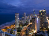 Queensland, Gold Coast, Surfer&#39;s Paradise, Evening View of Surfer&#39;s Paradise Highrises, Australia Photographic Print by Walter Bibikow
