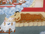 Thangka Painting of Buddha's Mother Dreaming of a White Elephant, Bhaktapur, Nepal, Asia Photographic Print by  Godong