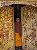 Burma, Wun Nyat, the Abbot Closes the Ornate Door to Beautiful Wun Nyat Monastery, Myanmar Photographic Print by Nigel Pavitt