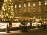 Historical Salzburg Christkindlmarkt with Stalls and Rezidens Building at Night Photographic Print by Richard Nebesky
