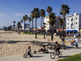 California, Los Angeles, Venice Beach, People Cycling on the Cycle Path, USA Lámina fotográfica por Christian Kober