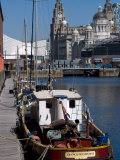 Albert Dock, with View of the Three Graces Behind, Liverpool, Merseyside Photographic Print by Ethel Davies