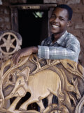 Wood Carver Puts the Finishing Touches to a Chief's Chair, Malawi Photographic Print by Nigel Pavitt