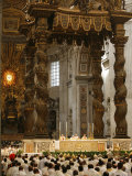 Easter Thursday Mass in St. Peter's Basilica, Vatican, Rome, Lazio, Italy, Europe Photographic Print by  Godong