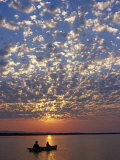 Canoeing under a Mackerel Sky at Dawn on the Zambezi River, Zambia Photographic Print by John Warburton-lee