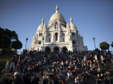 Tourists Gather at the Sacre Coeur, Montmartre, Paris, France, Europe Photographic Print by Andrew Mcconnell