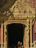 Burma, Wun Nyat, the Abbot Scribes at the Doorway to Beautiful Wun Nyat Monastery, Myanmar Photographic Print by Nigel Pavitt