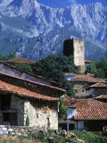 Houses and Tower in Mogrovejo Village, Cantabria, Spain Photographic Print by John Warburton-lee