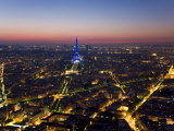 Eiffel Tower Lit in Blue, Paris at Night Photographic Print by Peter Adams