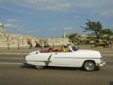 Havana, Classic Vintage American Car Driving on the Malecon, Havana, Cuba Photographic Print by Paul Harris