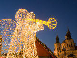 Glowing Angel, Part of Christmas Decoration at Staromestske, Stare Mesto Photographic Print by Richard Nebesky